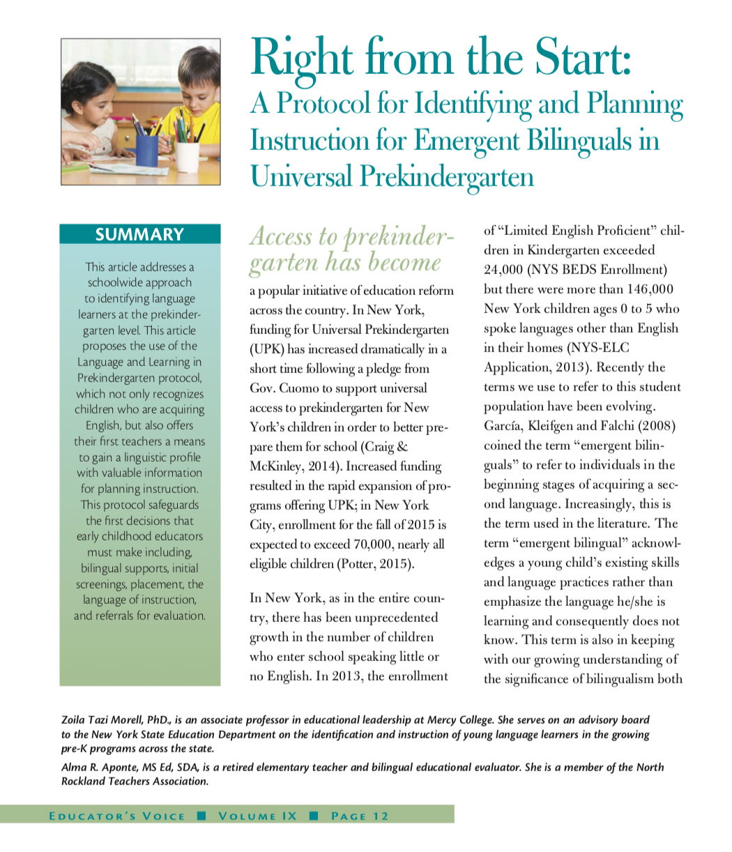 Right from the Start: A Protocol for Identifying and Planning Instruction for Emergent Bilinguals in Universal Prekindergarten